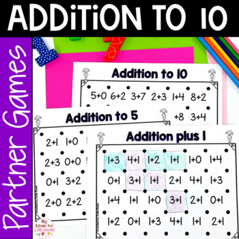 Addition to 10 Activities Partner Game Worksheet