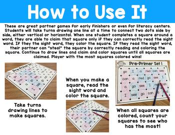 Let's Make a Square! Dolch Pre-Primer Sight Words Partner Game
