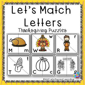 Let's Match Letters – Thanksgiving Symbols Puzzles