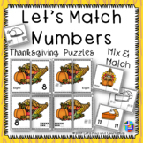 Let's Match Numbers – Thanksgiving Symbols Puzzles