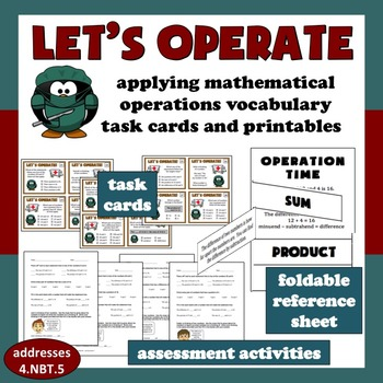 Let's Operate: vocabulary of mathematical operations task cards & printables set