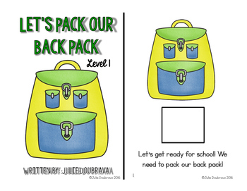 Let's Pack Our Bag Pack: Adapted book for Students with Special Needs
