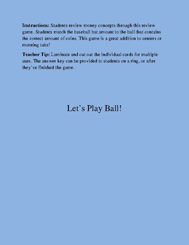 Let's Play Ball: Money Game