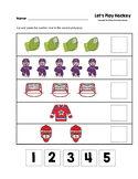 Let's Play Hockey Cut and Paste Numbers 1-5 Worksheets