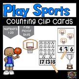 Let's Play Sports Counting Number Clip Cards 1 - 20 Math Center ABA activities