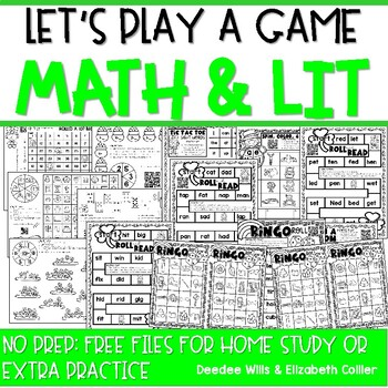 Let's Play a Game:  10 Math and Literacy Take Home Games (FREE)