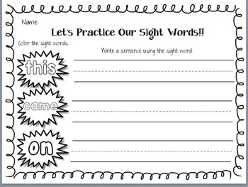Let's Practice Our Sight Words!!