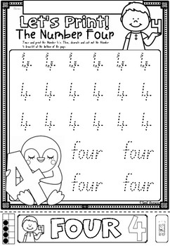 Let's Print Numbers 1 to 10 worksheets in NSW Foundation Font for Kindergarten