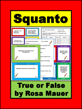 Let's Read About Squanto True or False Task Cards & Worksheet