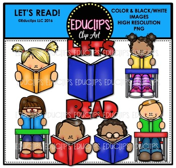 Let's Read Clip Art Bundle {Educlips Clipart}