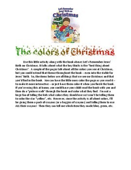 Let's Remember Jesus' Birth on Christmas - the Colors of Christmas!