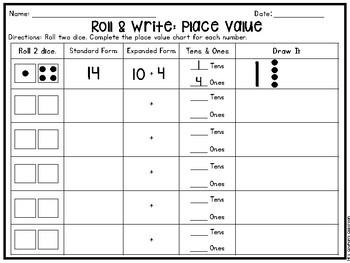 Let's Roll: Place Value Game (Tens and Ones Only)