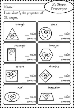 2D and 3D Shape Worksheets