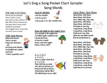 Let's Sing a Song Pocket Chart Sampler