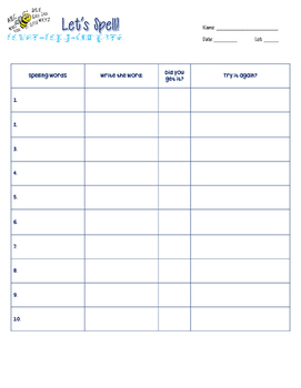 Let's Spell! Cover-Copy-Compare Worksheet