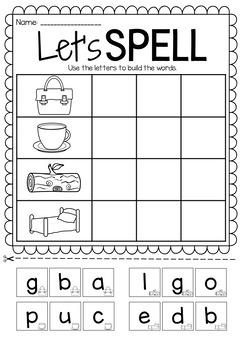 Let's Spell Spelling Printable Worksheet Pack - Short Vowels CVC
