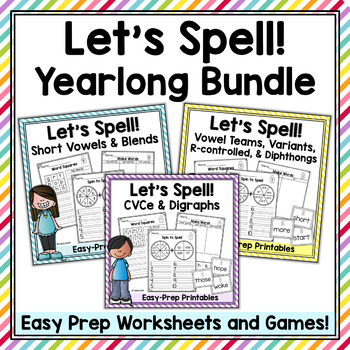 Yearlong Spelling Practice Bundle - Worksheets & Games for 42 Spelling Patterns
