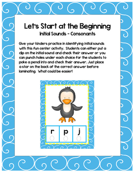 Let's Start at the Beginning - Single Consonant Initial Letter Sounds