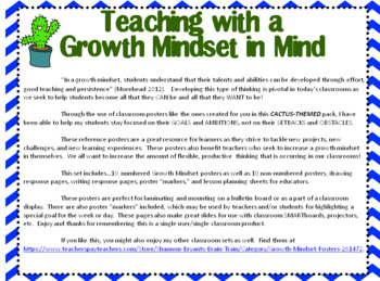 Growth Mindset Posters and Writing (Cactus Chevron Theme)