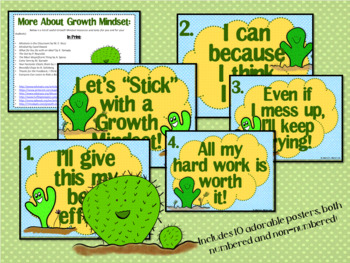 Growth Mindset Posters and Writing (Cactus Theme)