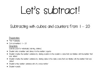 Let's Subtract 1-20