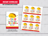 Let's Taco 'Bout What a Great Teacher Card, Teacher Appreciation Gift Tag Idea