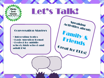 ESL Let's Talk! Conversation Starters - Family and Friends