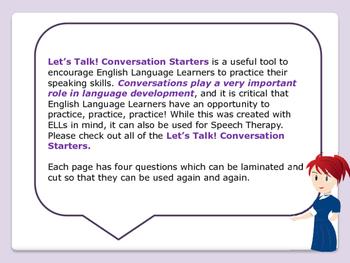 ESL Let's Talk! Conversation Starters - Favorites - ESL,ENL,Speech