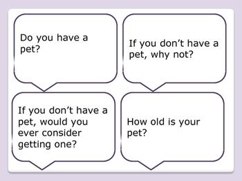 ESL Let's Talk! Conversation Starters - Pets and Animals - ESL,ENL,Speech