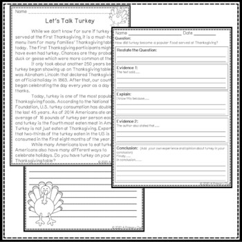 Let's Talk Turkey! Thanksgiving Document Based Writing, Context Clues