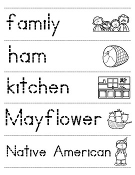 Let's Trace Thanksgiving Words!