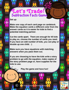 Let's Trade!  Subtraction Facts to 20