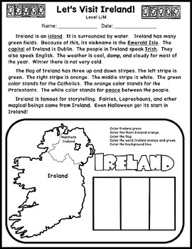 Let's Visit Ireland Multi-level Reading Passage