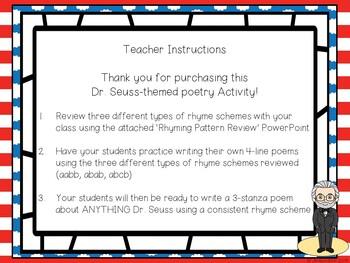 Let's Write A Poem - a Dr. Seuss Activity