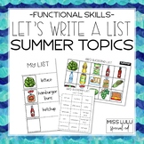 Let's Write a List: Summer Topics (Functional Writing for