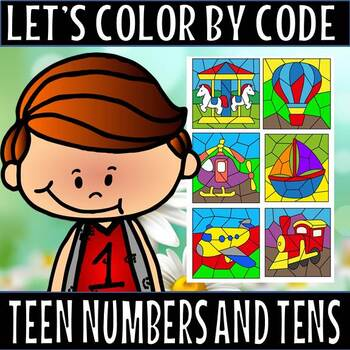 Let's color by code/teen numbers and tens/transport theme