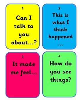Let's talk it out script for restorative chat between students *poster*flashcard