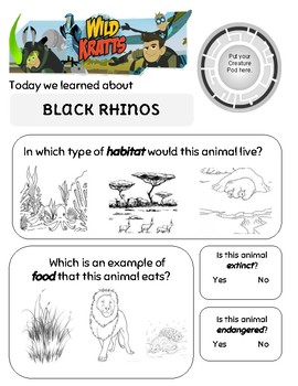 Let the Rhinos Roll Wild Kratts Worksheet
