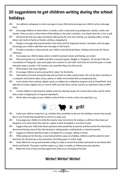 Let the children write! 20 suggestions to get children writing