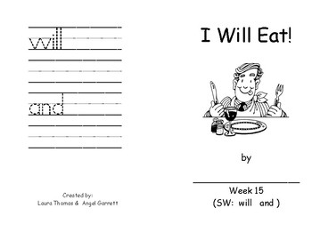 I Will Eat -  Sight Word Book - Week 15