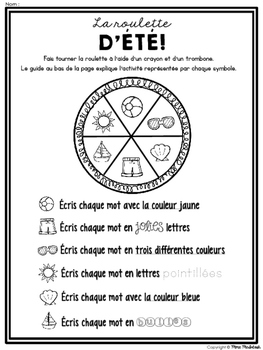 Lété'! 8 activités d'étude de mots/8 word work activities for the Summer