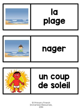 L'ete! French summer flashcards, word wall cards, and centre games
