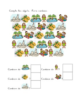 Été (Summer in French) Counting Worksheets