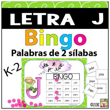 Letra J  Bingo (palabras CVCV)