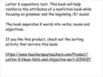 Leter K book, nonfiction attributes, focus on grammar