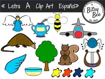 Letra A,  Vocales. Clip Art para Vocabulario en español.