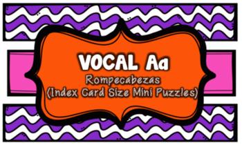 Letra A Index Card Vocabulary Puzzles (Rompecabezas)