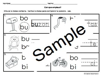 Letra Bb Silabas Activities Bundle Pack Cscope Common Core