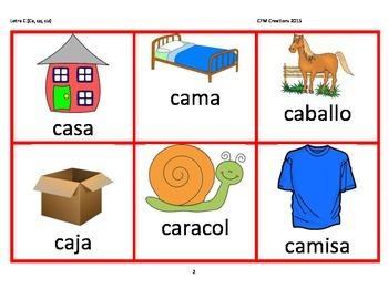Letra C suave y fuerte vocabulario