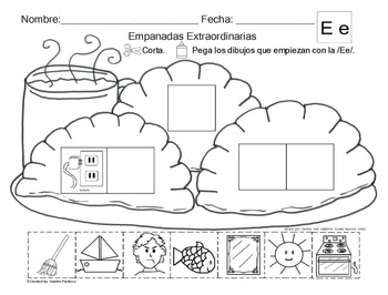 Letra Ee Set Of Initial Vowel Sound Worksheets Sla By Abc Bilingual